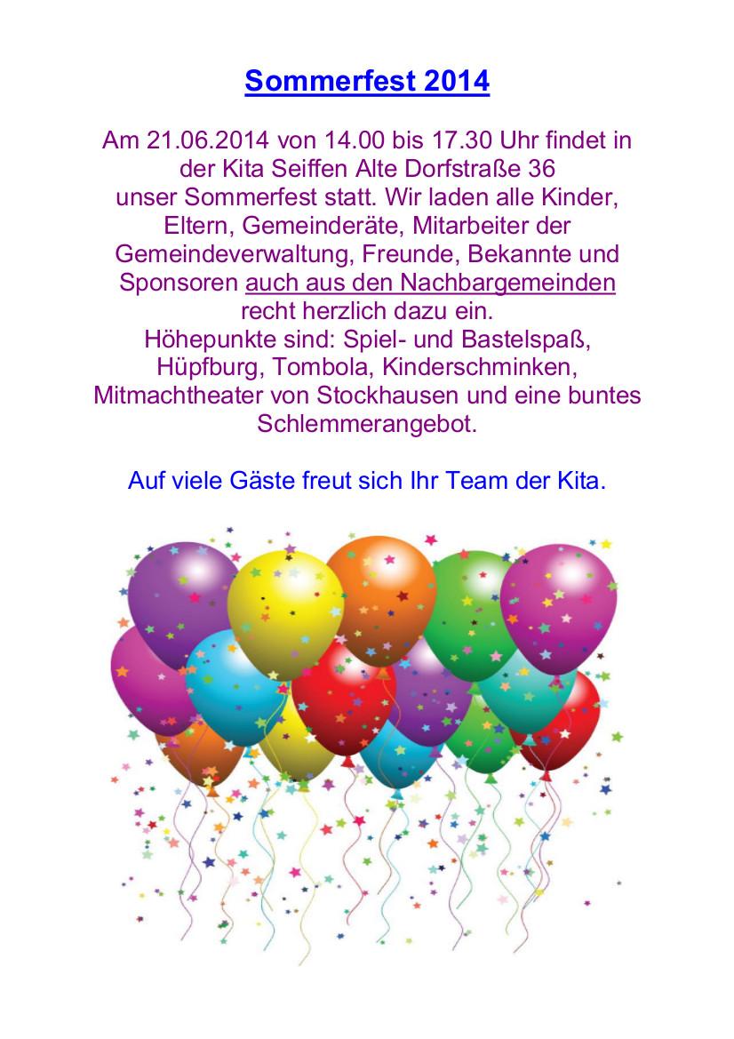 Sommerfest im Kindergarten Spielzeugland am 21Juni 201